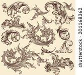 vector set of calligraphic... | Shutterstock .eps vector #201168362