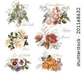 set of floral design in... | Shutterstock .eps vector #201168632