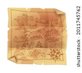 old vintage parchment map ... | Shutterstock .eps vector #2011745762