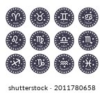 set of 12 zodiac signs with... | Shutterstock .eps vector #2011780658
