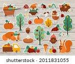 vector autumn stickers set....   Shutterstock .eps vector #2011831055
