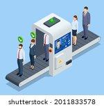 isometric robot analyzes the...   Shutterstock .eps vector #2011833578