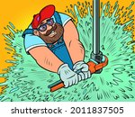 a male plumber repairs the...   Shutterstock .eps vector #2011837505