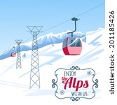Vector background, postcard with cable-way in the Alps - stock vector