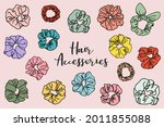collection of scrunchie...   Shutterstock .eps vector #2011855088
