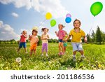 children with colorful balloons ... | Shutterstock . vector #201186536