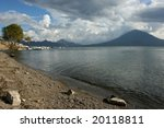 The lake of Lago Atitlan in Guatemala. - stock photo