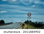 No overtaking sign. road sign...