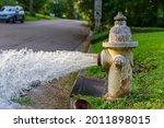Water Flowing From Open Fire...