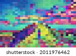 bright mosaic with color cells... | Shutterstock .eps vector #2011976462
