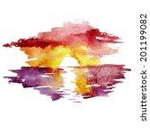 watercolor landscape sunset... | Shutterstock .eps vector #201199082