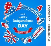 4th july stickers bacground | Shutterstock .eps vector #201202025