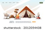 campsite with tent  campfire ...   Shutterstock .eps vector #2012054438