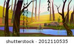 spring forest with river and... | Shutterstock .eps vector #2012110535