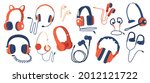 set of headphones  wired and... | Shutterstock .eps vector #2012121722