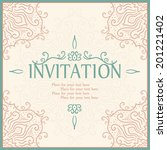 vintage invitation card with... | Shutterstock .eps vector #201221402