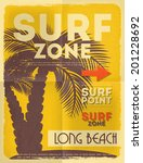 Surf Retro Poster With Palm In...