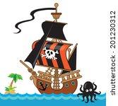 pirate ship vector illustration | Shutterstock .eps vector #201230312