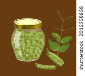 canned green peas in glass jar.  | Shutterstock .eps vector #2012338838