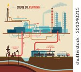 stages of processing crude oil... | Shutterstock .eps vector #201240215