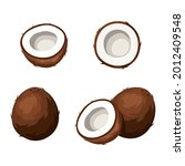 vector set of coconuts isolated ... | Shutterstock .eps vector #2012409548