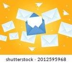 envelope flying in the sky... | Shutterstock .eps vector #2012595968