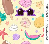 doodle funny seashells on the...   Shutterstock .eps vector #2012646362