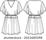 vector v neck dress technical... | Shutterstock .eps vector #2012685398