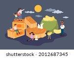 mid autumn festival food. flat... | Shutterstock .eps vector #2012687345