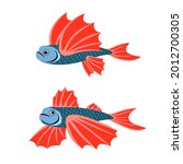 a pair of flying fish with red...   Shutterstock .eps vector #2012700305