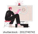 man fix computer or laptop ...   Shutterstock .eps vector #2012740742