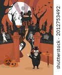 a halloween poster with a house ... | Shutterstock .eps vector #2012753492