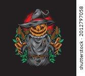 Scary Pumpkin Scarecrow Vector...