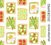 avocado toast seamless pattern. ... | Shutterstock .eps vector #2012836982