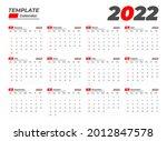 2022 basic calendar template... | Shutterstock .eps vector #2012847578