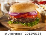 Hearty Grilled Hamburger With...