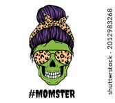 halloween mom. female skull... | Shutterstock .eps vector #2012983268