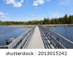 Wooden boardwalk stretching out into a marshy wetland at the HR Frink Centre in Hastings County