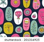 seamless dark floral pattern ... | Shutterstock .eps vector #201316925