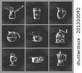 hand drawn coffee icon set in... | Shutterstock .eps vector #201333092