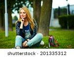 portrait of cute funny blond... | Shutterstock . vector #201335312