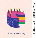 happy birthday vector card with ...   Shutterstock .eps vector #2013363935