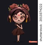 little witch. halloween holiday ...   Shutterstock .eps vector #2013374222