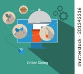 'online dining' conceptual flat ...