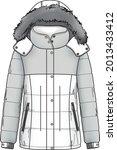 quilt dawn feather jacket parka ... | Shutterstock .eps vector #2013433412