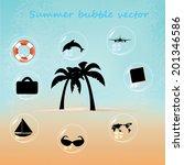 beautiful blue beach vector...   Shutterstock .eps vector #201346586
