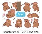 set of cute bear cartoon... | Shutterstock .eps vector #2013555428