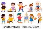 children hobby. cartoon school... | Shutterstock .eps vector #2013577325
