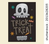 halloween trick or treat skull... | Shutterstock .eps vector #2013628205