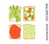 avocado toast set. cute vegan... | Shutterstock .eps vector #2013687398